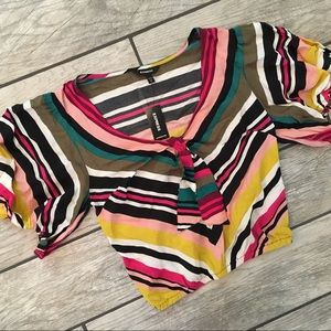 New! Express Multi Color Shirt Crop Sz. XS NWT